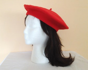 Vintage Red Wool Beret. Hat. Accessory. Wool Hat. Cute Red Hat. French Flair. 1990s.