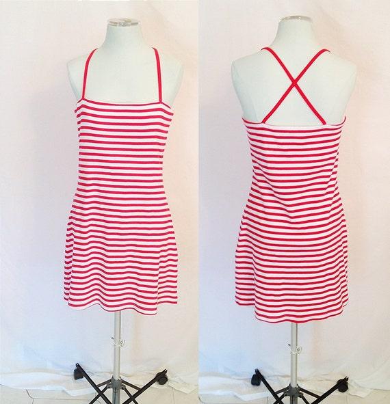 SALE- Half Price Summer Sale- Vintage Red & White Striped Dress. Criss-Cross Back. Cotton. Nautical. Size Medium. Beach. Short Dress