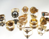 Lot 13 Vintage Rings Spoon Ring Adjustable Rhinestones Gold Tone Avon Sterling