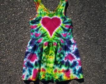 Tie Dye Heart Tank Dress Toddler 4T