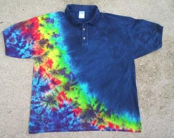 Deep Blue Polo Style Mens  Tie Dye XL