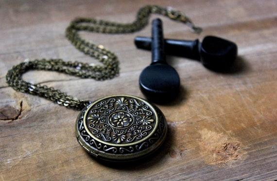 Locket of Elyria. Antiqued Brass Perfume Locket Necklace.