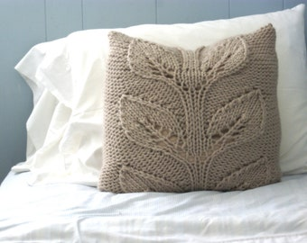 Rustic Knit Pillow Sham, Cabled Pillow Sham, Falling Leaves