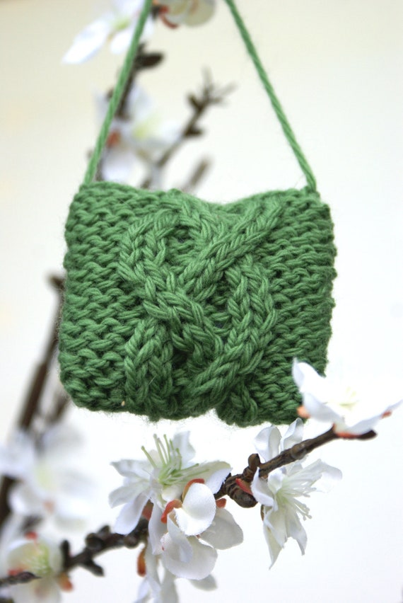 New - Green Wool Cable Knit Christmas Ornaments