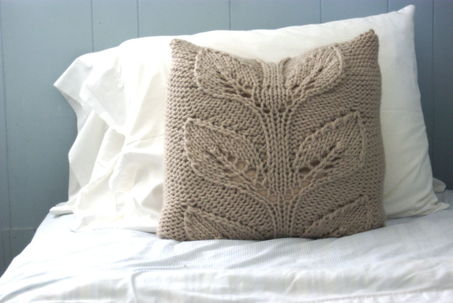 Knitting Pillows : Rustic knit pillow sham cabled falling leaves