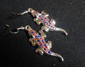 Florida Gators Earrings, Orange & Blue Earrings, Sparkle Rhinestones Silver Alligator Charm Earrings, Sterling Silver Dangle Earwires