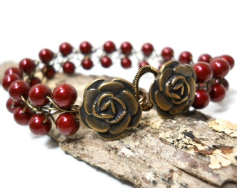 Dark Rose Red Bracelet, Romantic Pearl Jewelry, Beaded Wire Bracelet with Antiqued Bronze Flower Button Clasp, Red Jewelry