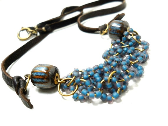Beaded Ceramic Necklace, Blue Glass Beaded Rings, Elaine Ray Ceramic, Brown Suede, Rustic, Natural Jewelry