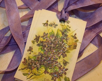 Violets Tags Floral Tags Vintage Style Floral Wish Tags - Set of 6