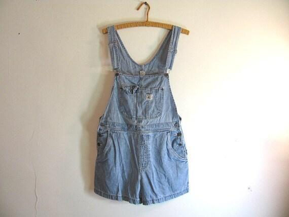Vintage faded light Blue Denim Shorts Jean Bib Overalls size L