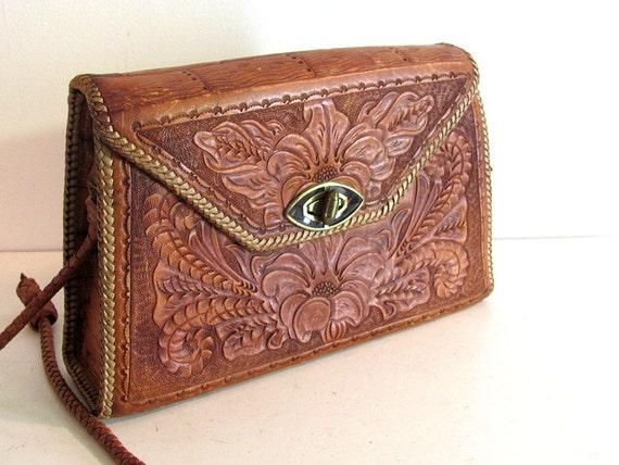 vintage brown tooled leather purse with birds and flowers