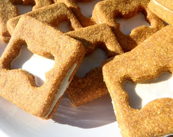 Organic Dog Treats - Pumpkin Creams - All Natural Dog Treats Organic Cookie Sandwiches - Shorty's Gourmet Treats