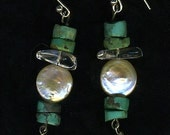 Turquoise Pearl Crystal and Drop Pearl earrings