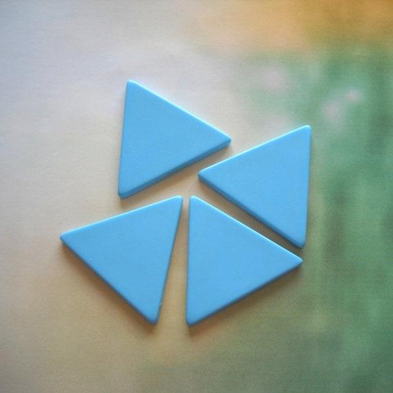 Vintage Lucite Aqua Light Blue triangle Cabochon Bead