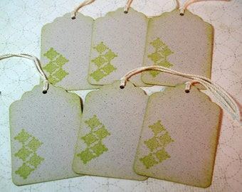 Gift Tags - Graphic Lime Green  - Vintage Style