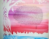 NYC Reservoir Overlook Ketubah - sunset colors - calligraphy