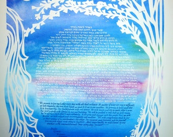 Ginkgo Tree and Waterfall Ketubah - papercut artwork - calligraphy