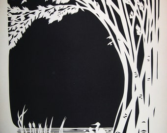 Papercut Artwork - Birches and Birds