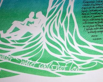 Two Trees Papercut Artwork Ketubah - calligraphy
