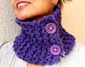 Purple Circle Scarf Hand Knit Cowl  Smart Neck Warmer Gift For Her