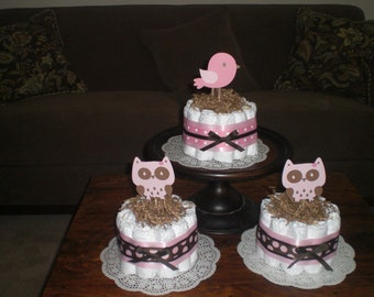 Bird Baby Shower Diaper Cake or Owl Baby Shower Diaper Cake Centerpieces other colors, toppers and sizes too