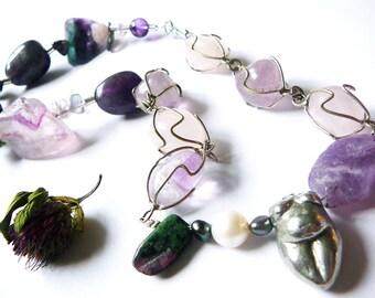 MamaCita - Fertile Life . Necklace / Amethyst, Fluorite, Rose Quartz, Emerald , Mother of Pearl