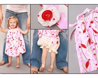 Baby Girl Pillowcase Dress Bloomer and Hair Clip Set Nicey Jane Fabric