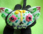 Sugar Skull Cat - Plush Calavera Day of the Dead Dia de los Muertos Kitty