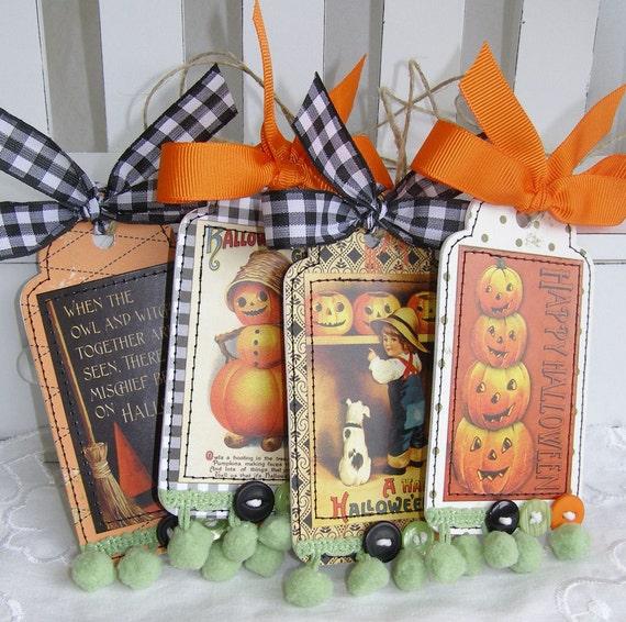 Halloween Vintage Style gift tags SET 1