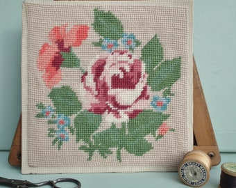 Vintage Needlepoint Tapestry 1950s 50s Completed Floral Panel for framing or reusing in needlework projects