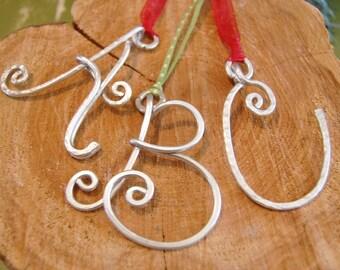 Letter Ornament. Initial. Pendant. Silver. Aluminum.