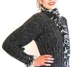 BASIA DESIGNS Hand Knit Grey Tweed Pouf Sleeve Ribbed Body Cardigan with Trim