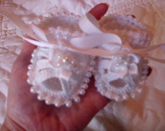 Sale! Baptism Christening Beaded Baby Shoes Booties Crochet Beaded Baby Booties/sandals, Baby prop by Kelly Taylor