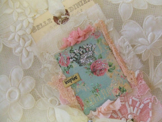 Hand Stamped French Crown Hang Tag With Silver Glitter