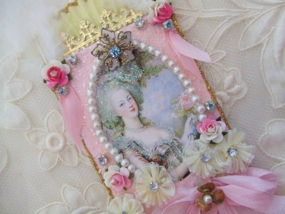 SALE Marie Antoinette Mixed Media Original Collage ATC ACEO with PInk Roses and Vintage Jewelry