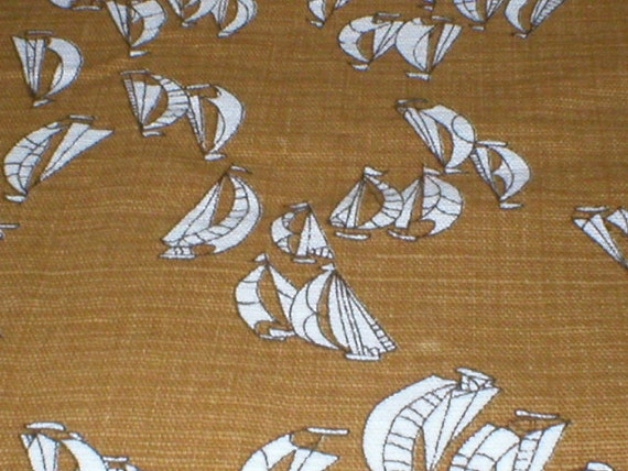 2 1/8 Yards 48 Wide Vintage 60s Cotton Bark Cloth Sailboat Print Fabric
