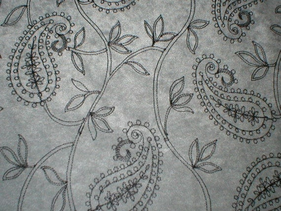 90s Gray Embroidered paisley knit velour fabric for steampunk, gothic costumes, dresses