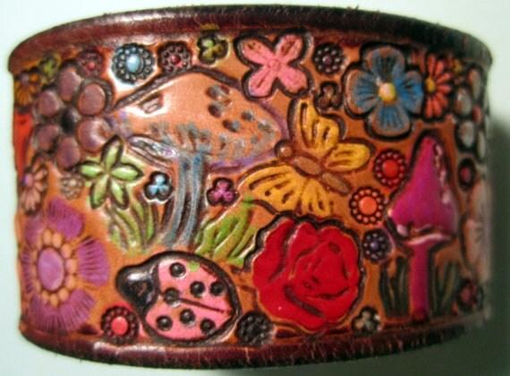 Dark Chocolate Brown Border Leather Wrist Band Cuff with Flowers Mushrooms Butterflies Ladybug OOAK