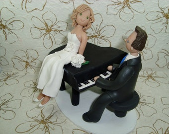 Custom Made Bride and Groom with a Piano Wedding Cake Topper