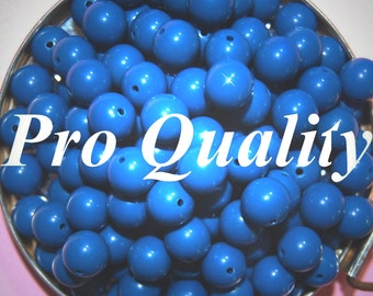 Vintage 36 Teal Blue Round Lucite 11mm Beads FR8
