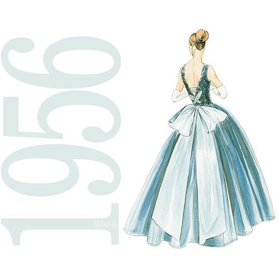 1950s Dress Vintage Pattern Reprint - Size 6 to 12 - Vogue 8729 - Uncut, Factory Folds - Evening Dress Vintage Vogue Pattern