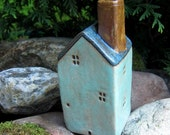 Turquoise Green House...Bud Vase/Sculpture