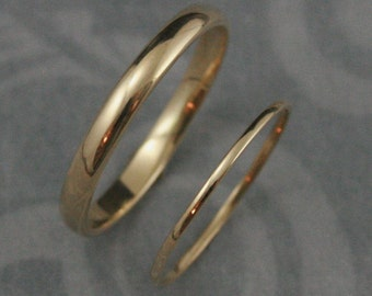 Skinny Minnie Solid 14K Gold Wedding Set--His and Hers Bands--2.5mm wide and 1mm Half Round Band