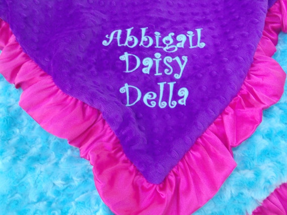 Purple Pink and Turquoise Aqua Minky Baby Blanket Can Be Personalized