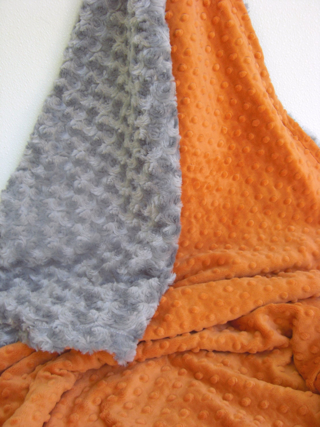 Burnt Orange and Gray Minky Baby Blanket for boy