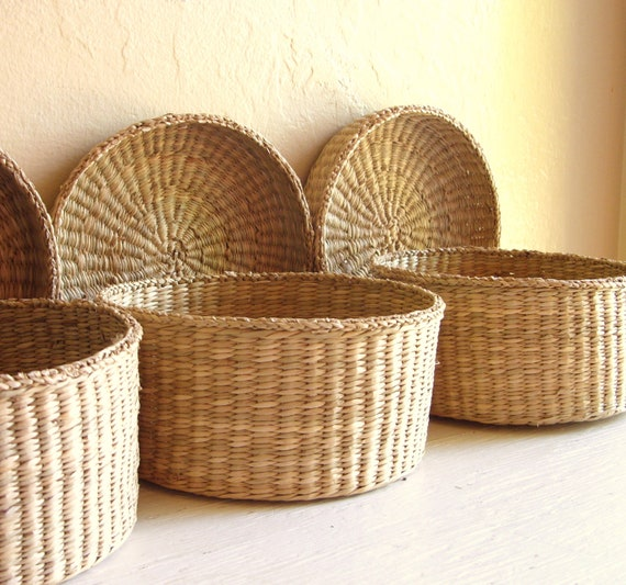 RESERVED Trio of Vintage Woven Baskets with Lids Round Storage
