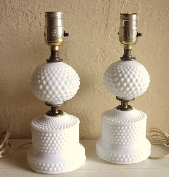 matching pair vintage milk glass lamps with gold electric