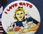 "1.5"" Glow In The Dark LOVE CATS Artist Button Pin"