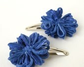 Flower Hair Clips in Periwinkle Blue