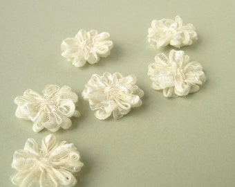 6 Ivory Ribbon Flower Appliques